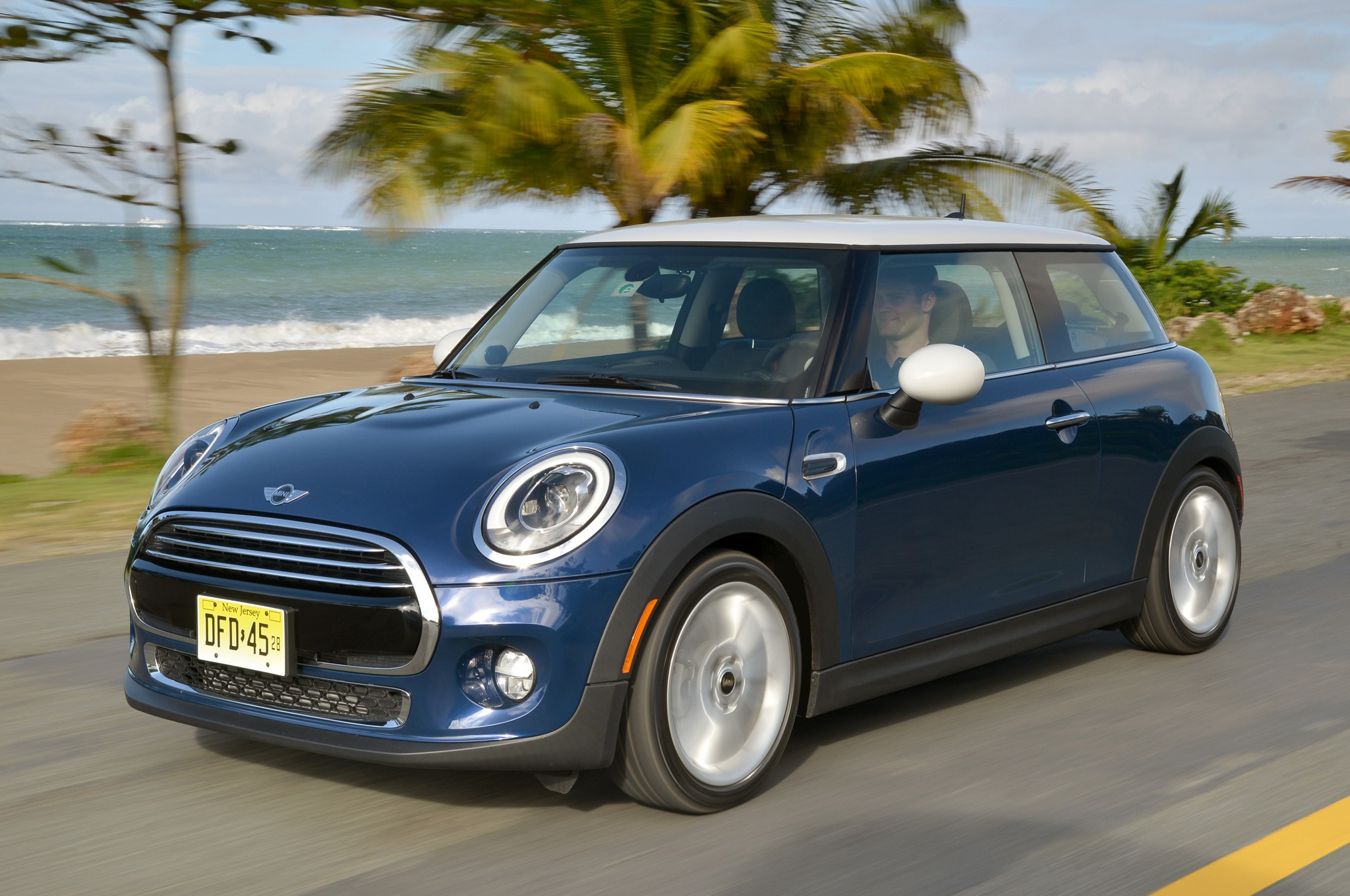 2014 Mini Cooper Front Three Quarters View In Motion On Coastline2