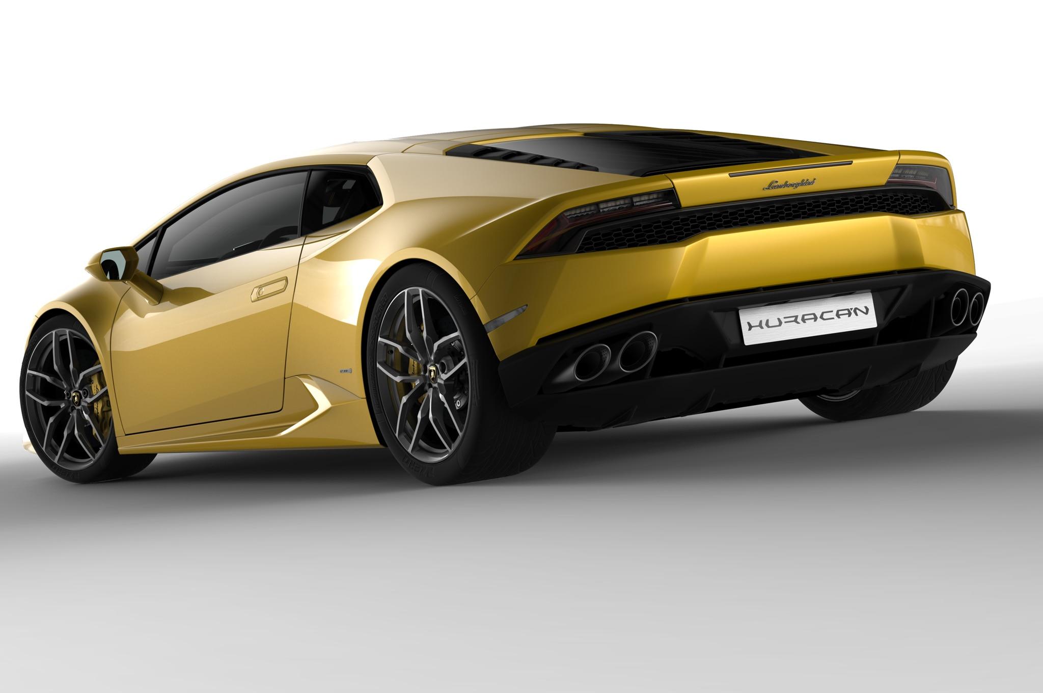 2015 Lamborghini Huracan Yellow Rear Three Quarters