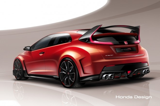 Honda Civic Type R Concept Rendering Rear Three Quarter1 660x438