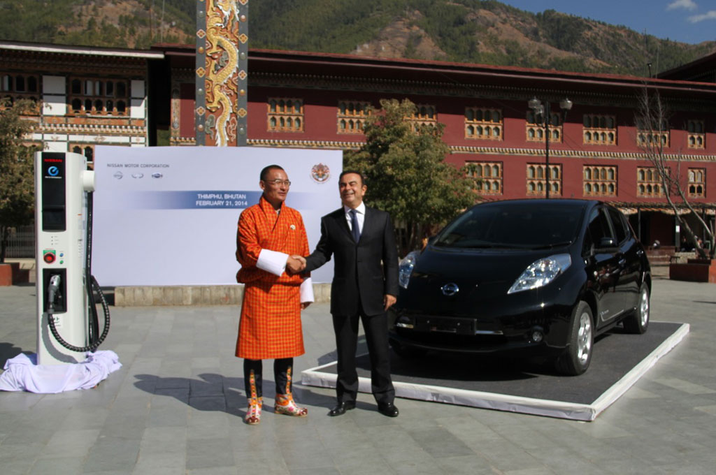 Nissan Leaf Bhutan Tobgay Ghosn