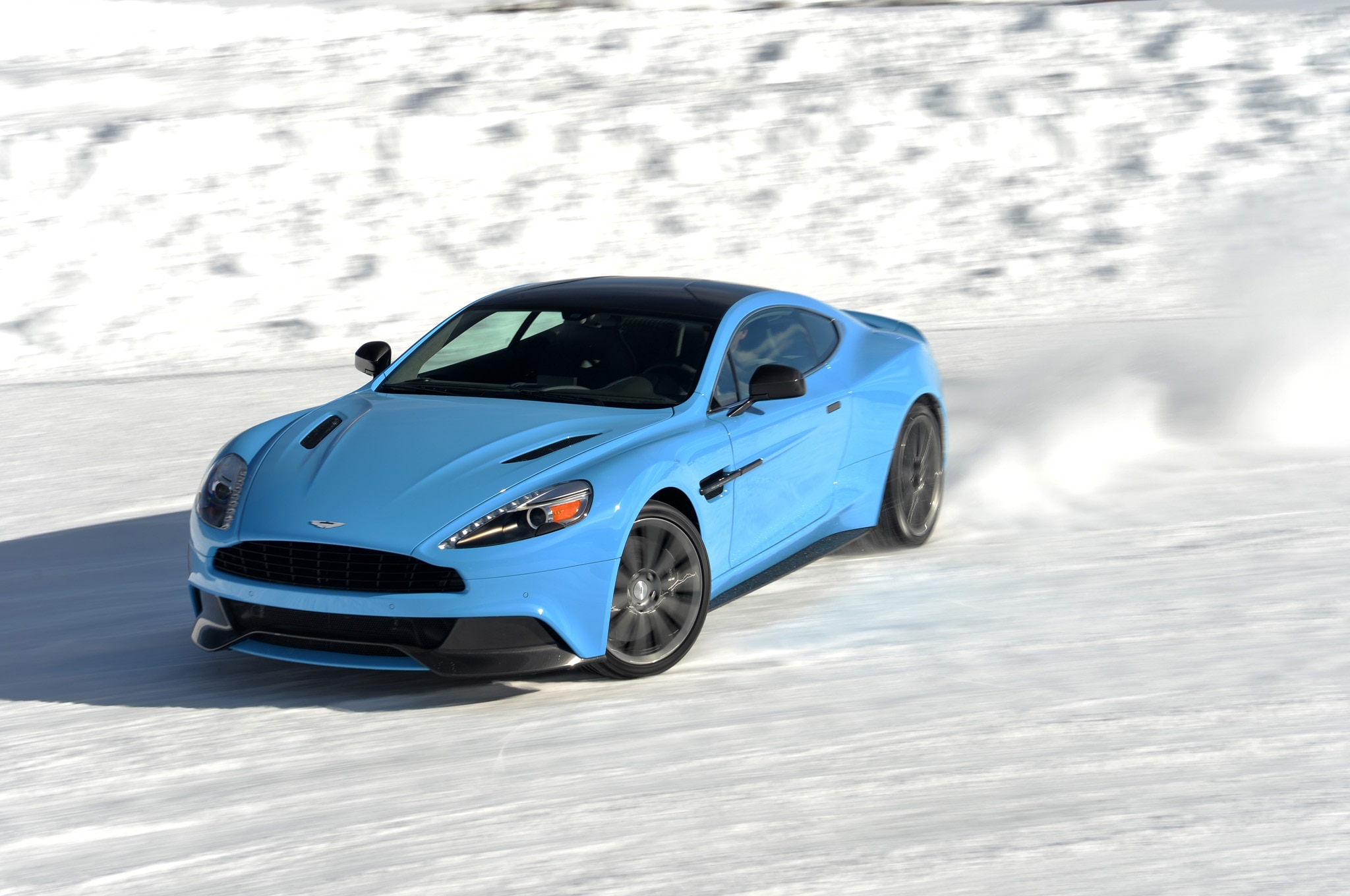 2014 Aston Martin Vanquish On Ice Front Slide1