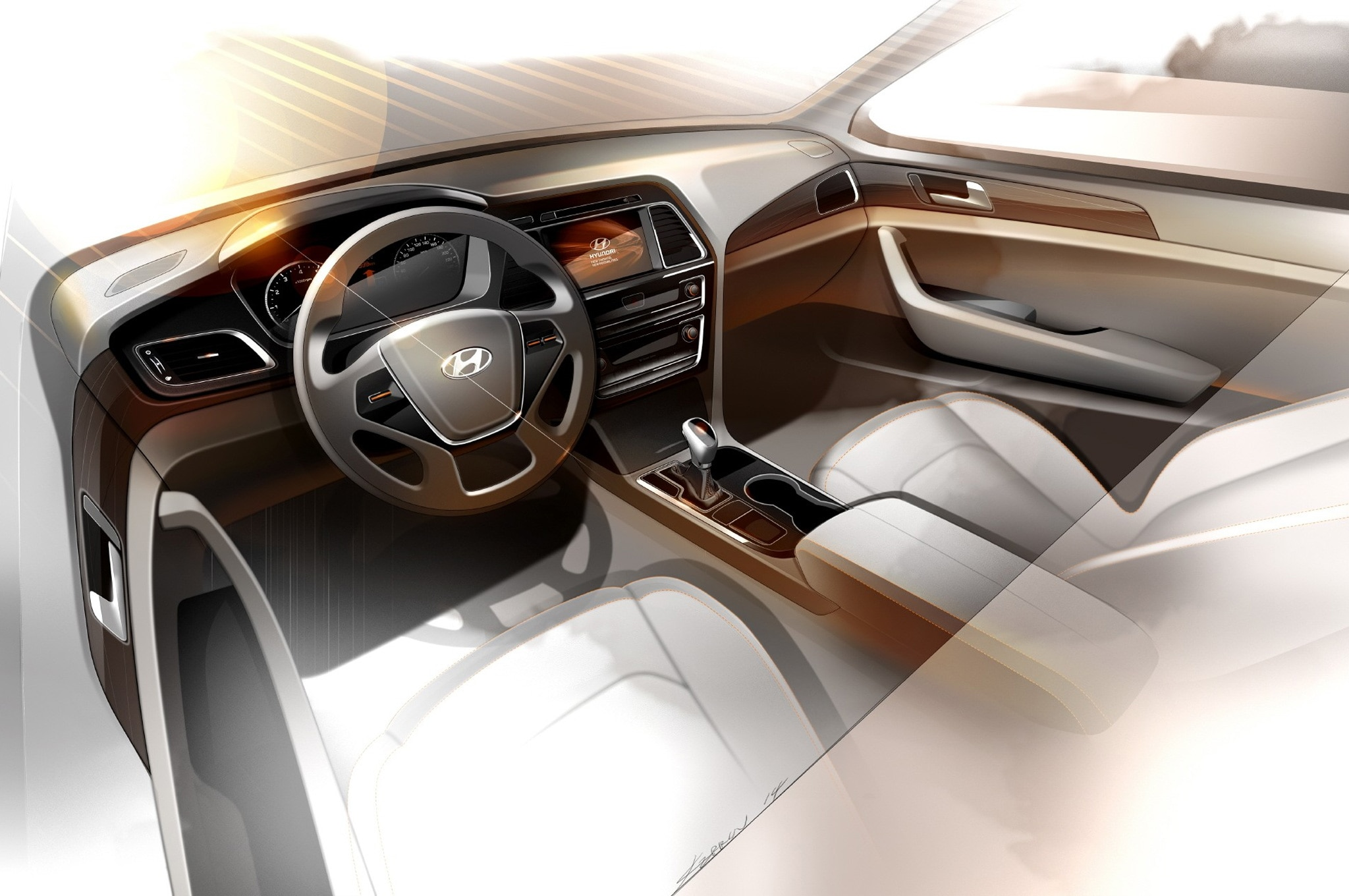 2015 hyundai sonata interior teased automobile magazine - 2015 hyundai sonata interior pictures ...