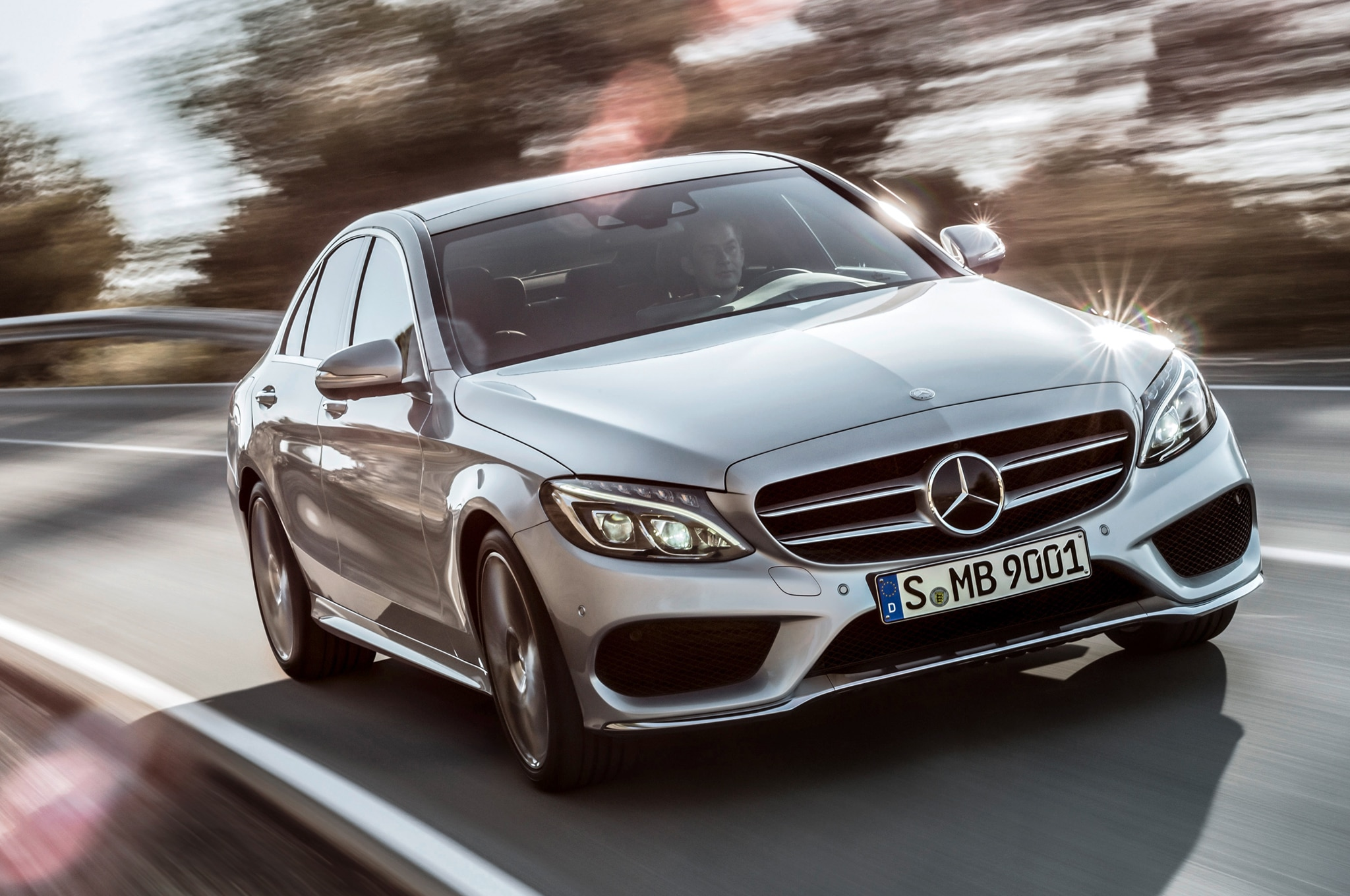 2015 Mercedes Benz C Class Front Three Quarters In Motion2