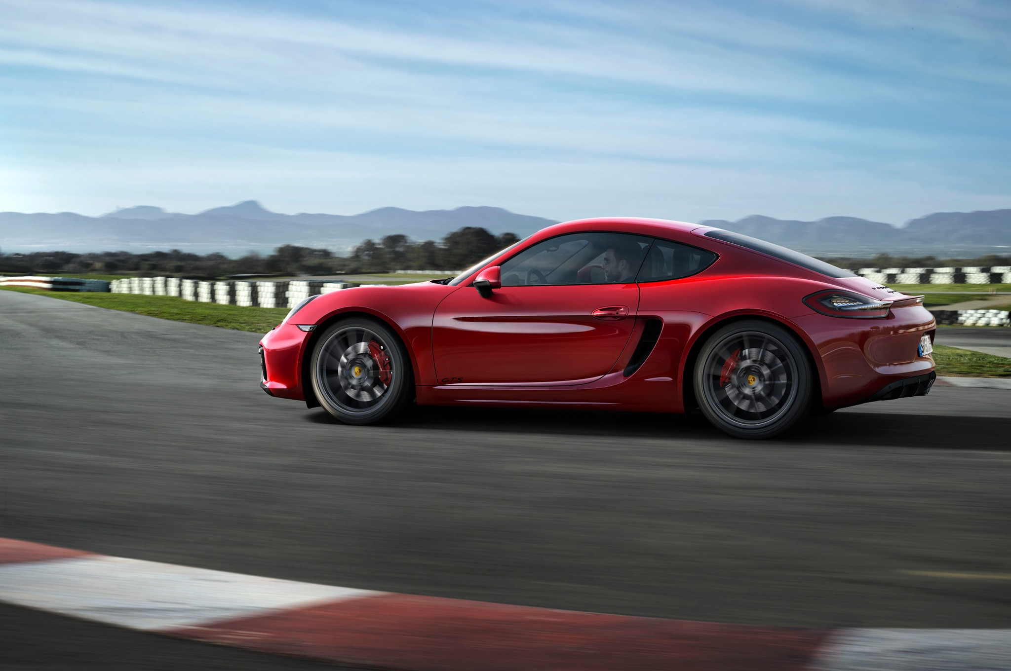 2015 Porsche Cayman GTS Side View On Track1