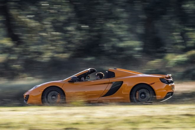 2013 McLaren 12C Spider Profile Drivers Side View In Motion Open1 660x440