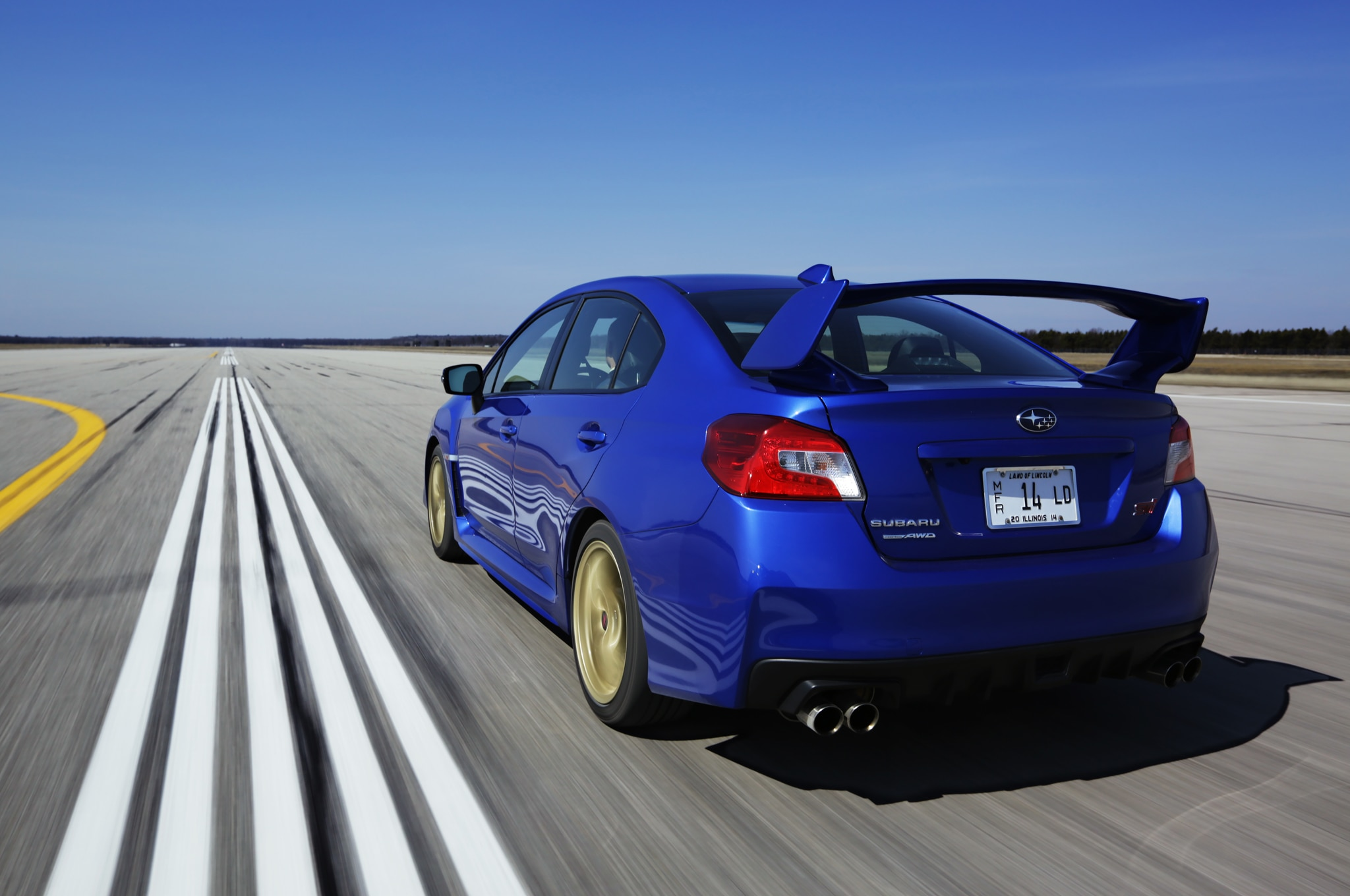 2015 Subaru Wrx Sti Rear Three Quarters In Motion