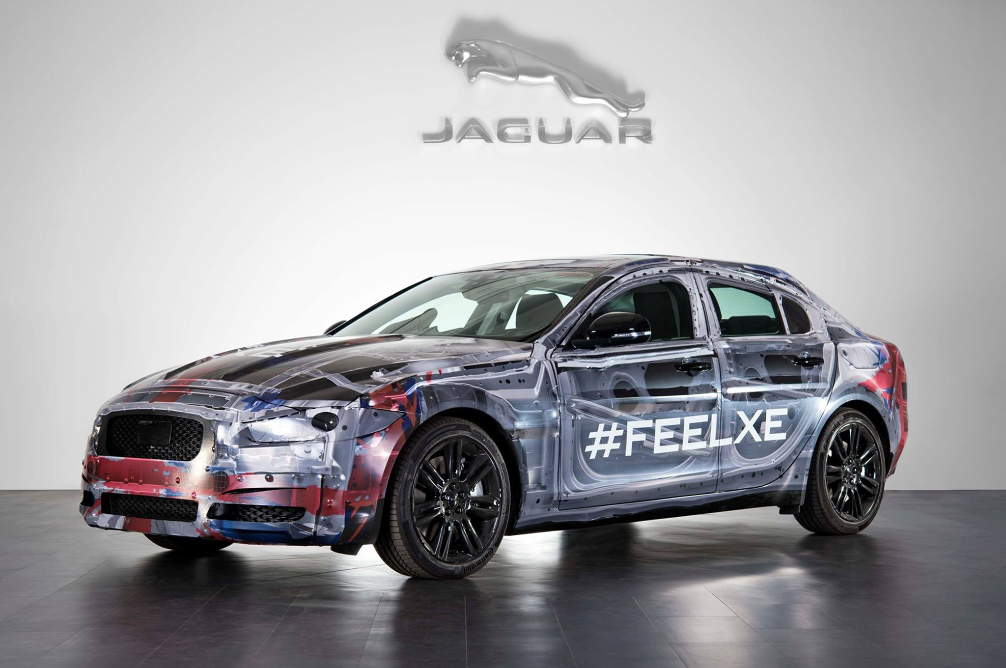2016 Jaguar Xe Wrapped Chassis Front Three Quarter