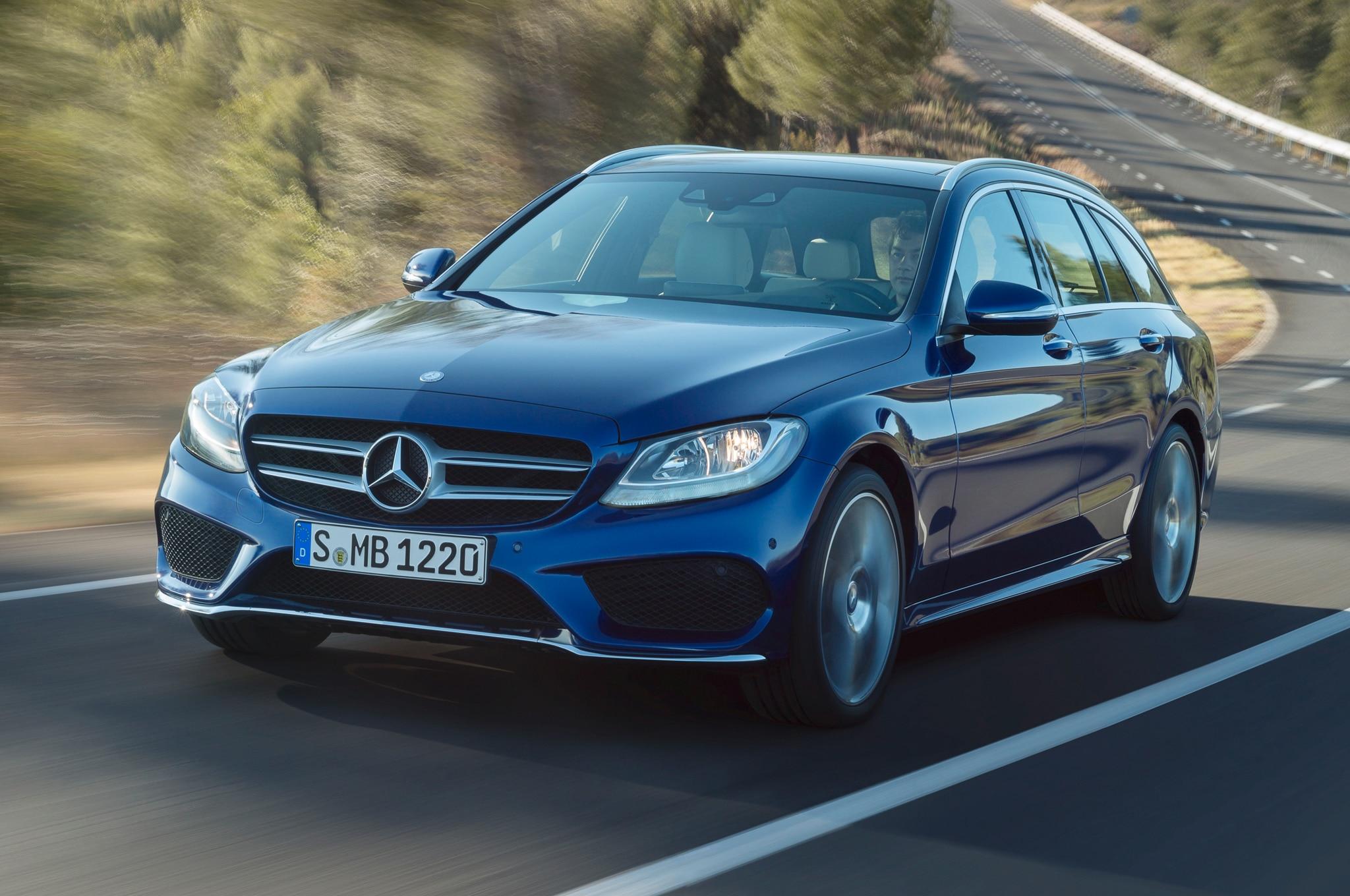 Euro Spec 2015 Mercedes Benz C Class Wagon Front Left Side Action Shot1