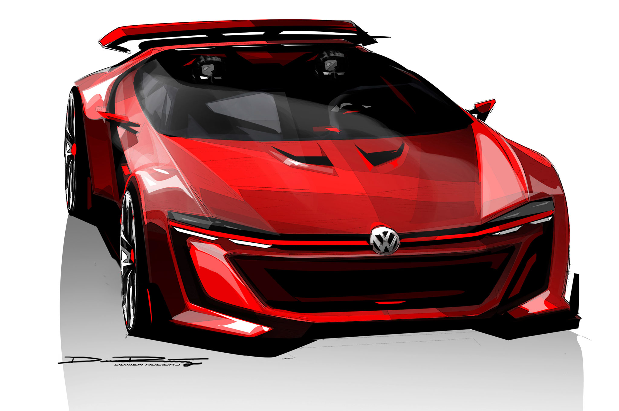 Volkswagen GTI Roadster Vision Gran Turismo Sketch Front View1