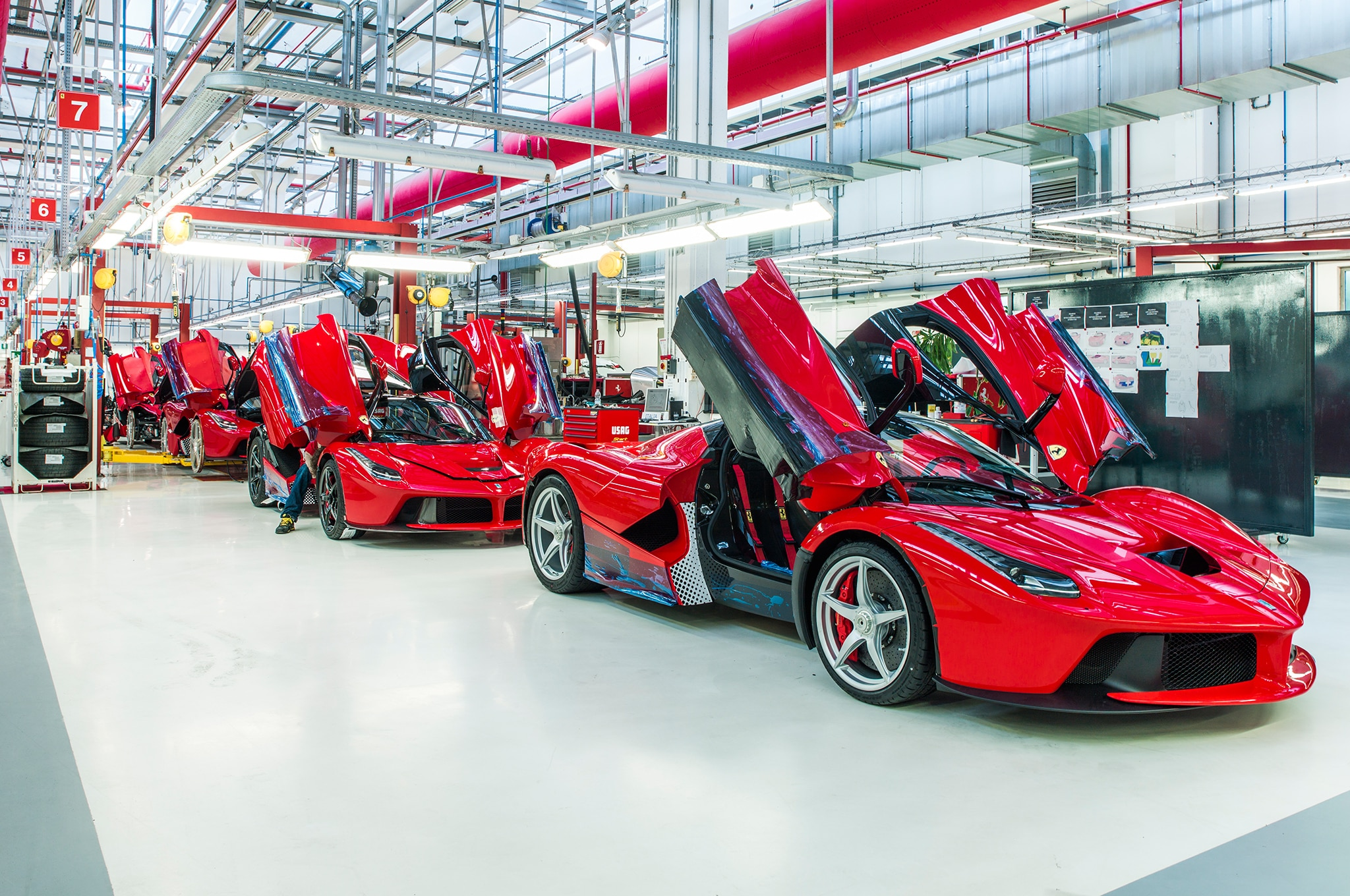 Dramatic winged LaFerrari hybrid supercars are almost ready to leave the production line.