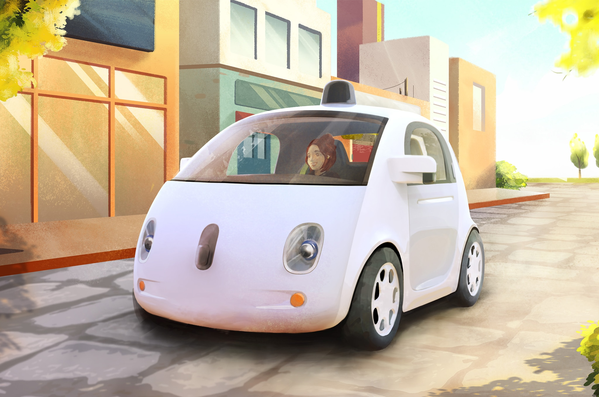 Google Self Driving Car Sketch Front Three Quarter