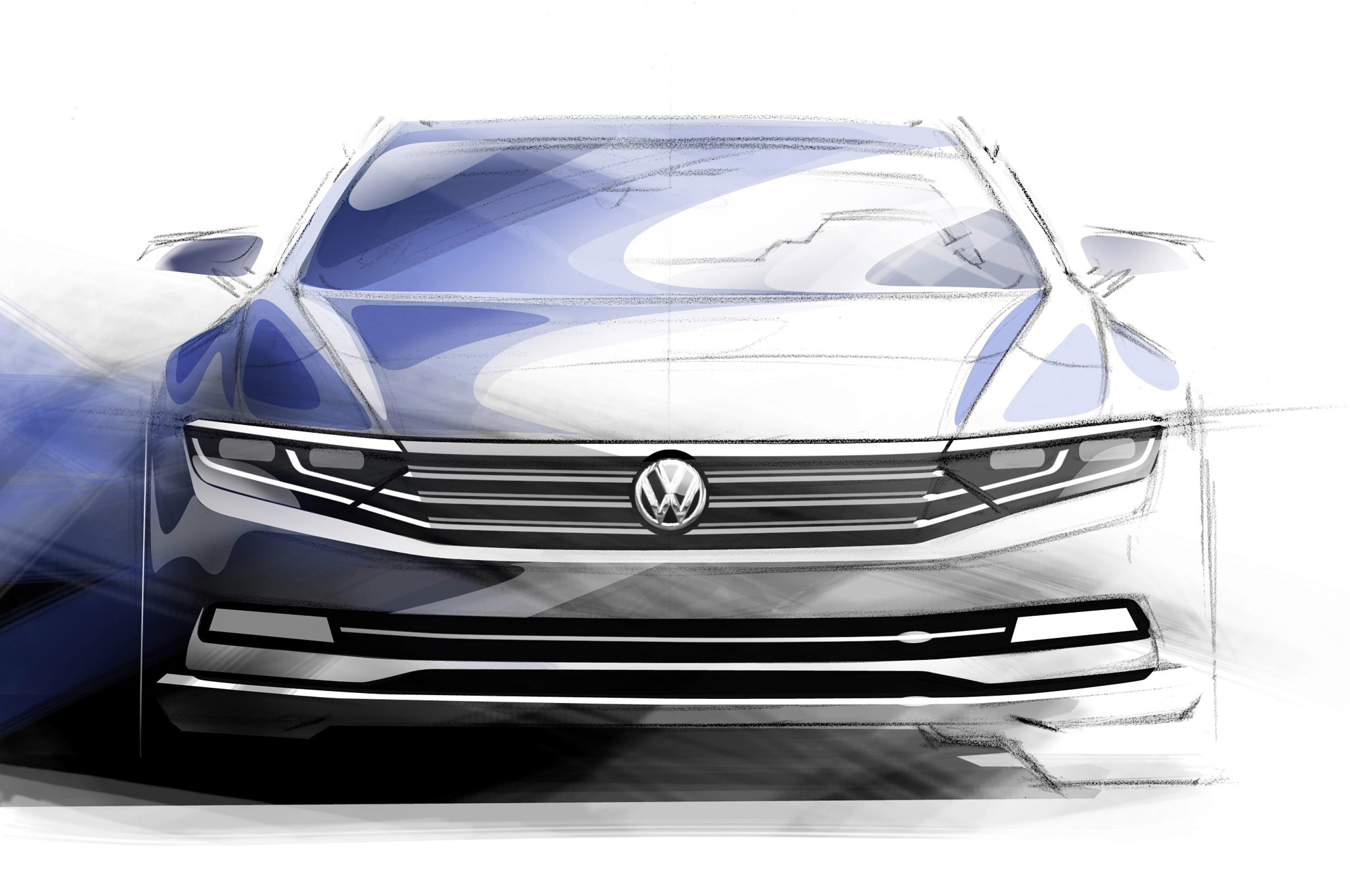 Volkswagen Passat Europe Tech Preview 01 Sketch Front1