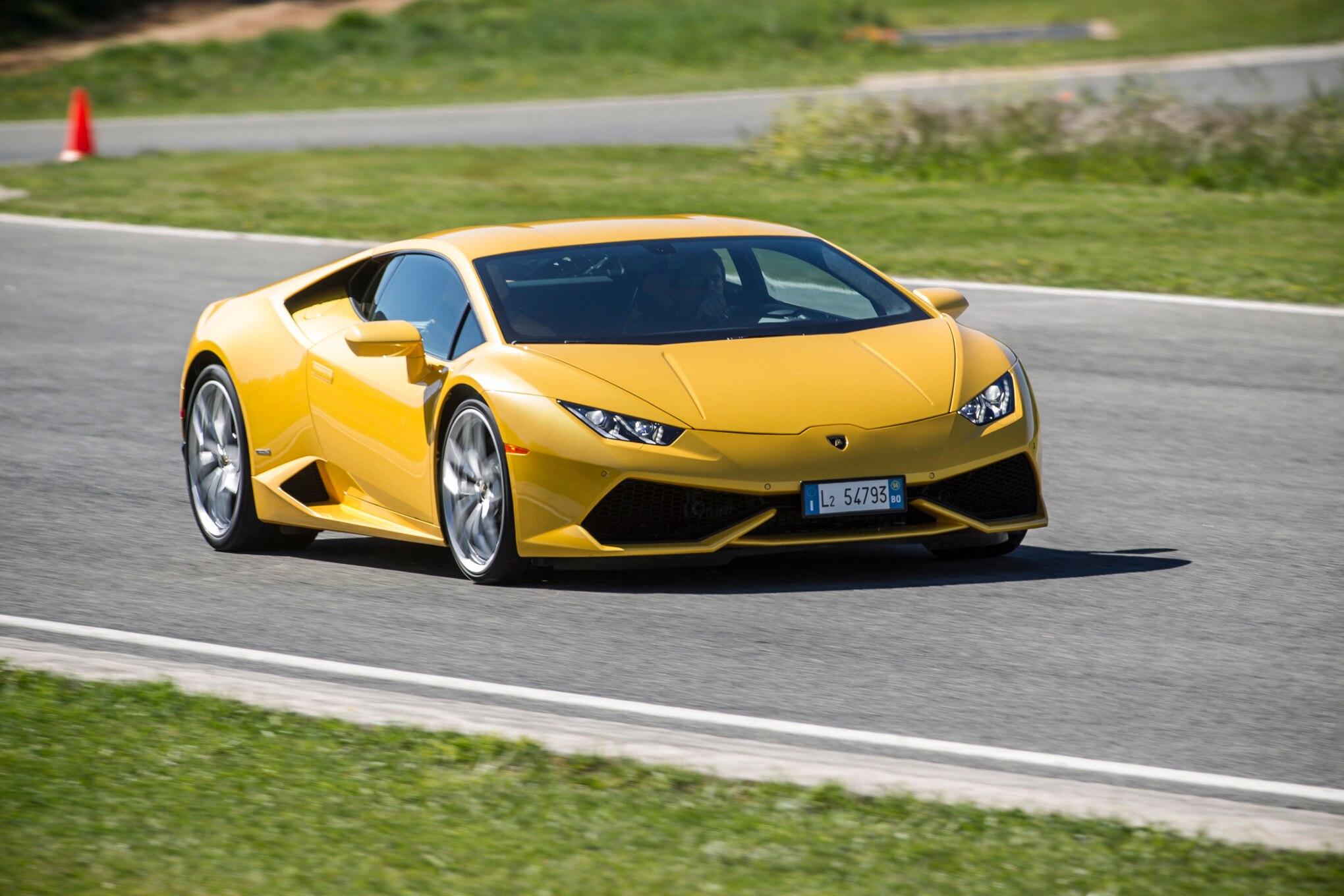 2015 Lamborghini Huracan LP 610 4 Track Yellow Front Three Quarter In Motion
