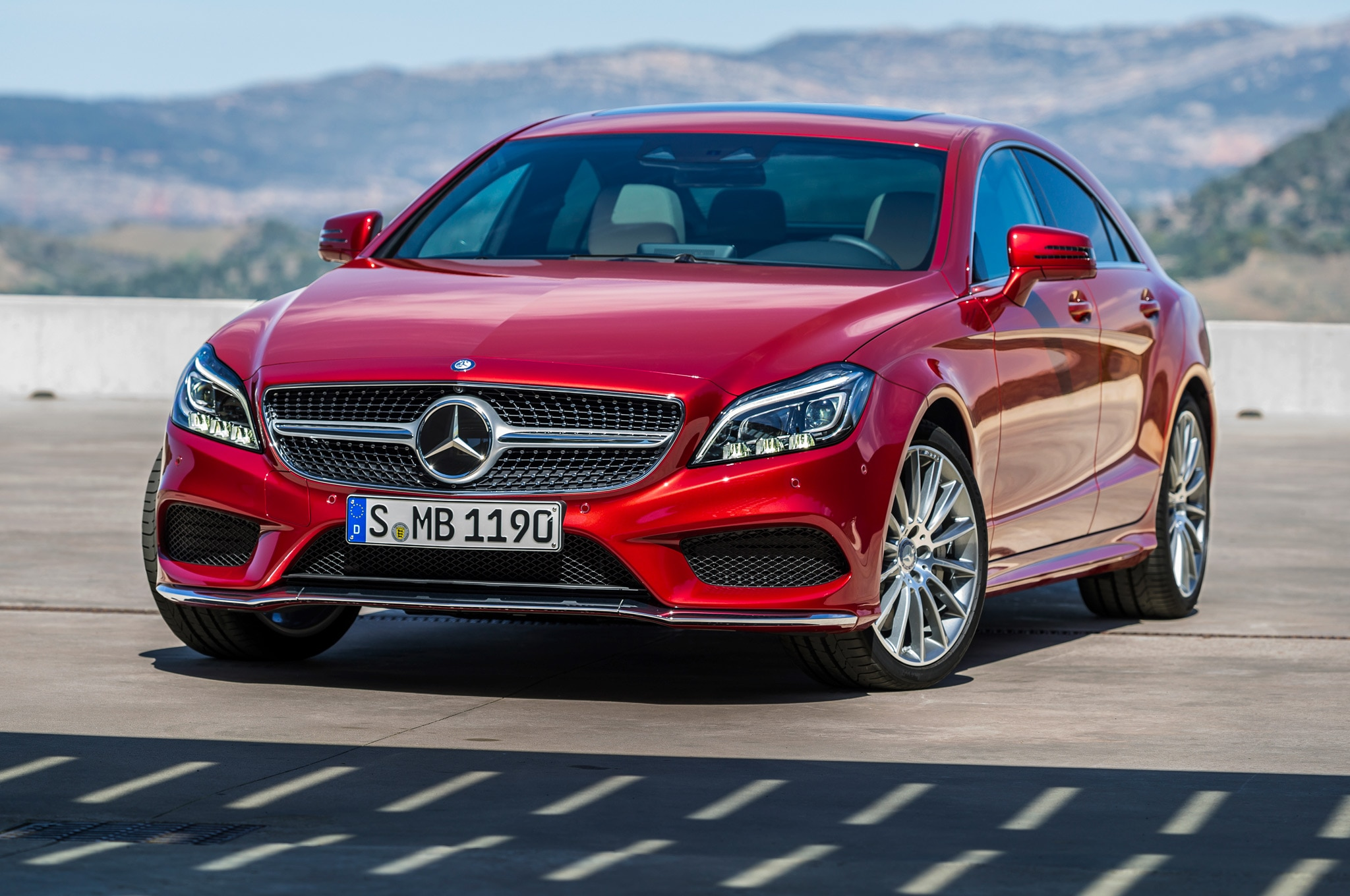 2015 Mercedes Benz CLS Class Front Side View Parked1