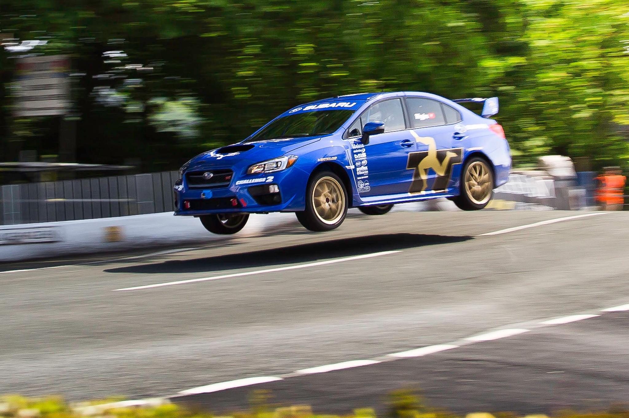2015 Subaru WRX STI At Isle Of Man Jump Closer View1
