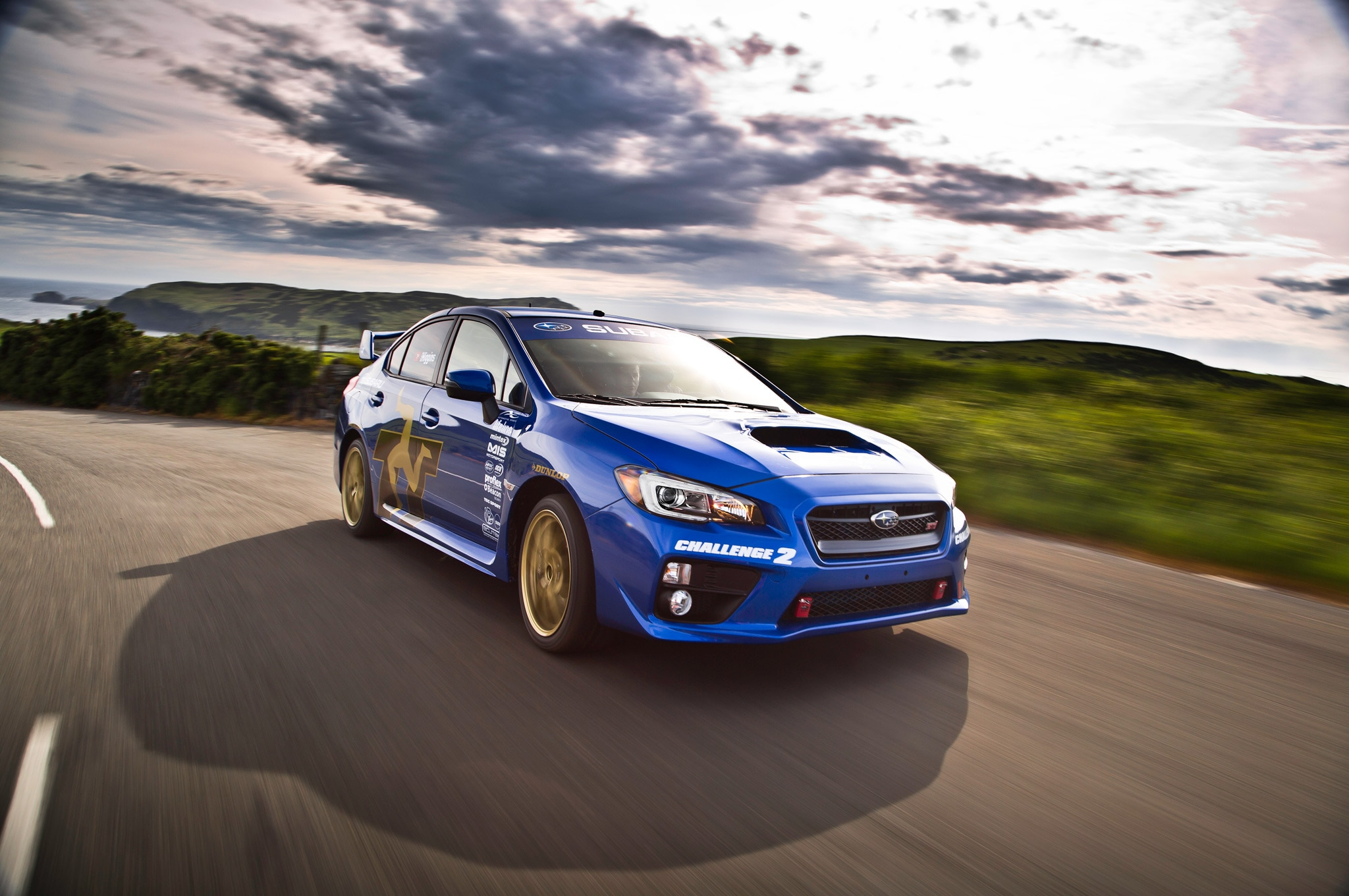 2015 Subaru WRX STI At Isle Of Man With Bright Sky