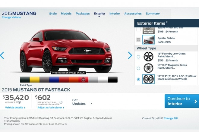 2015 Ford Mustang Gt Configurator Front Three Quarter1 660x438