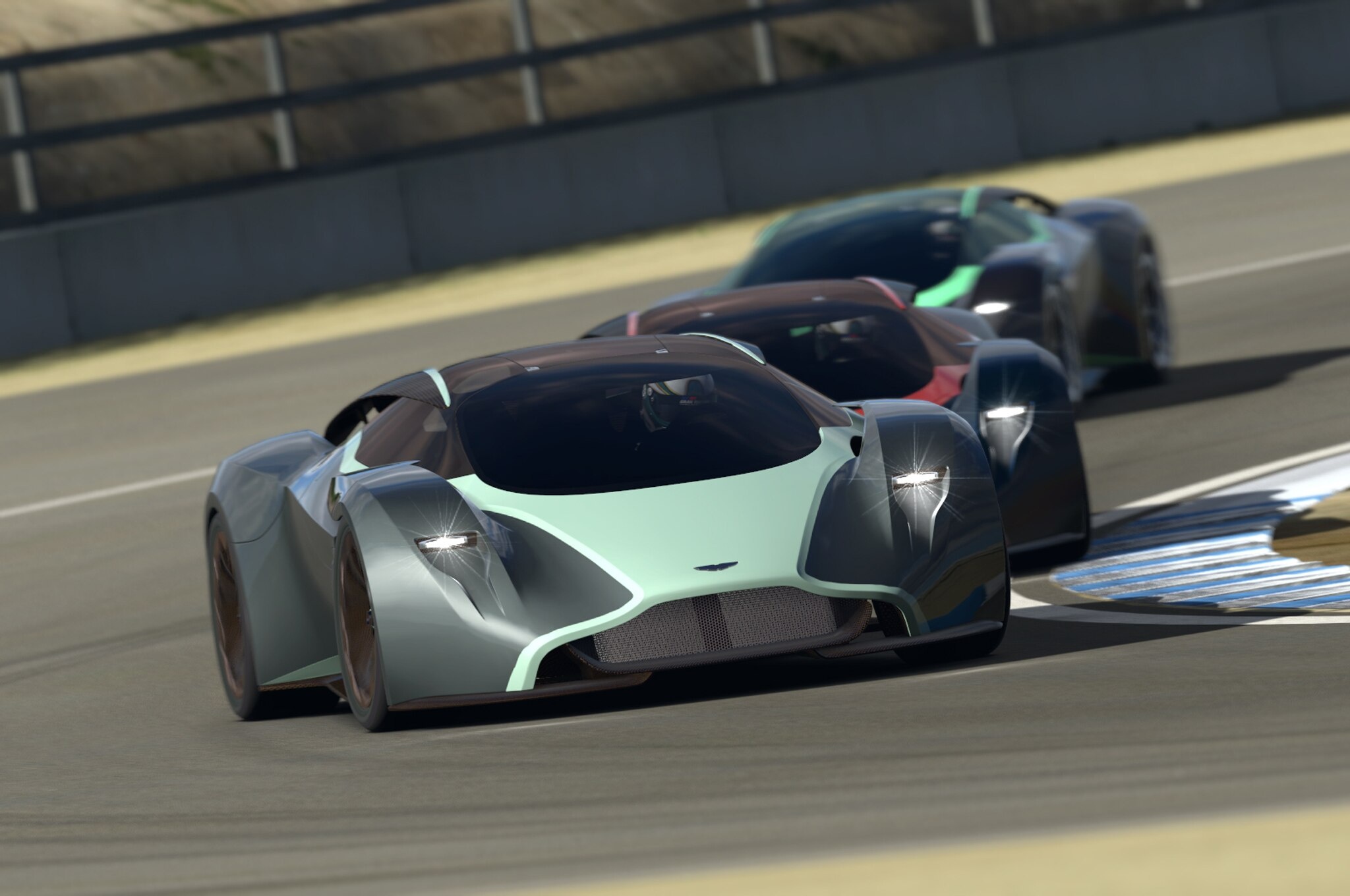 Aston Martin DP 100 Vision Gran Turismo Concept Front End In Motion Turn