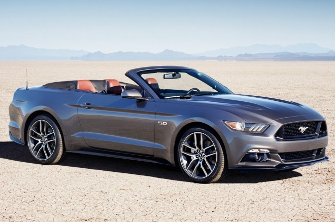 2015 Ford Mustang GT Convertible Front Three Quarter View1 660x438
