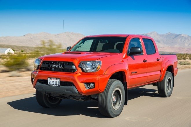 2015 Toyota Tacoma TRD Pro Front Three Quarter In Motion 021 660x440