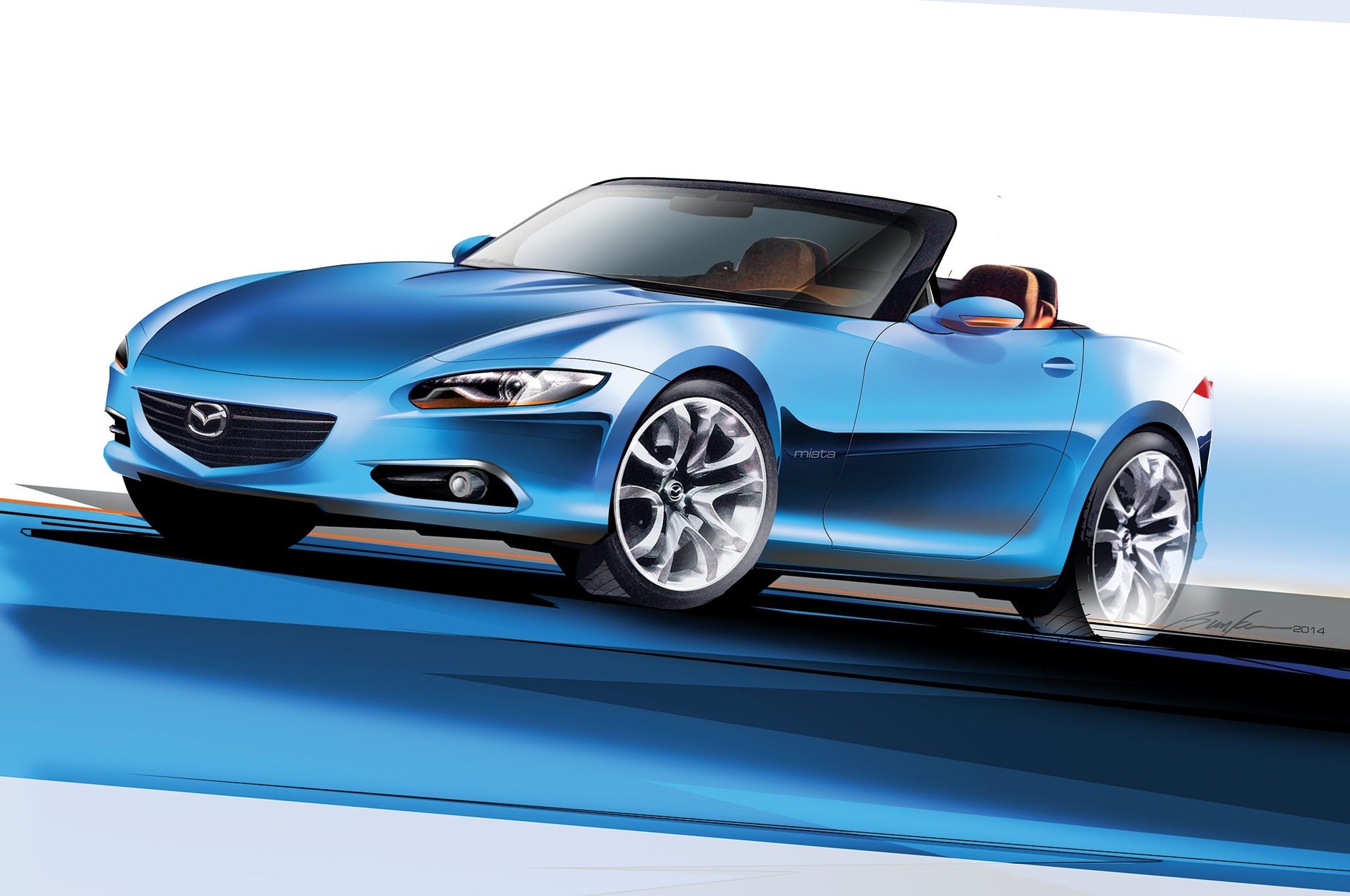 2016 Mazda Mx 5 Miata Sketch Front Three Quarter1