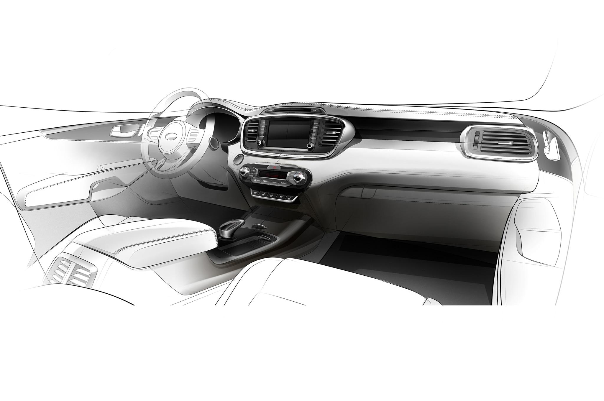 2016 Kia Sorento Interior Teaser Sketch1