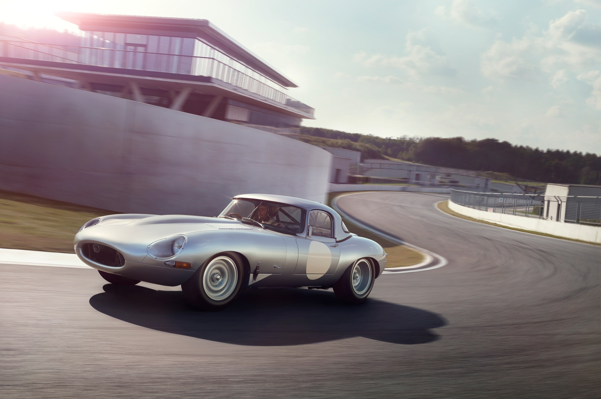 Jaguar Lightweight E Type Front Three Quarter In Motion1