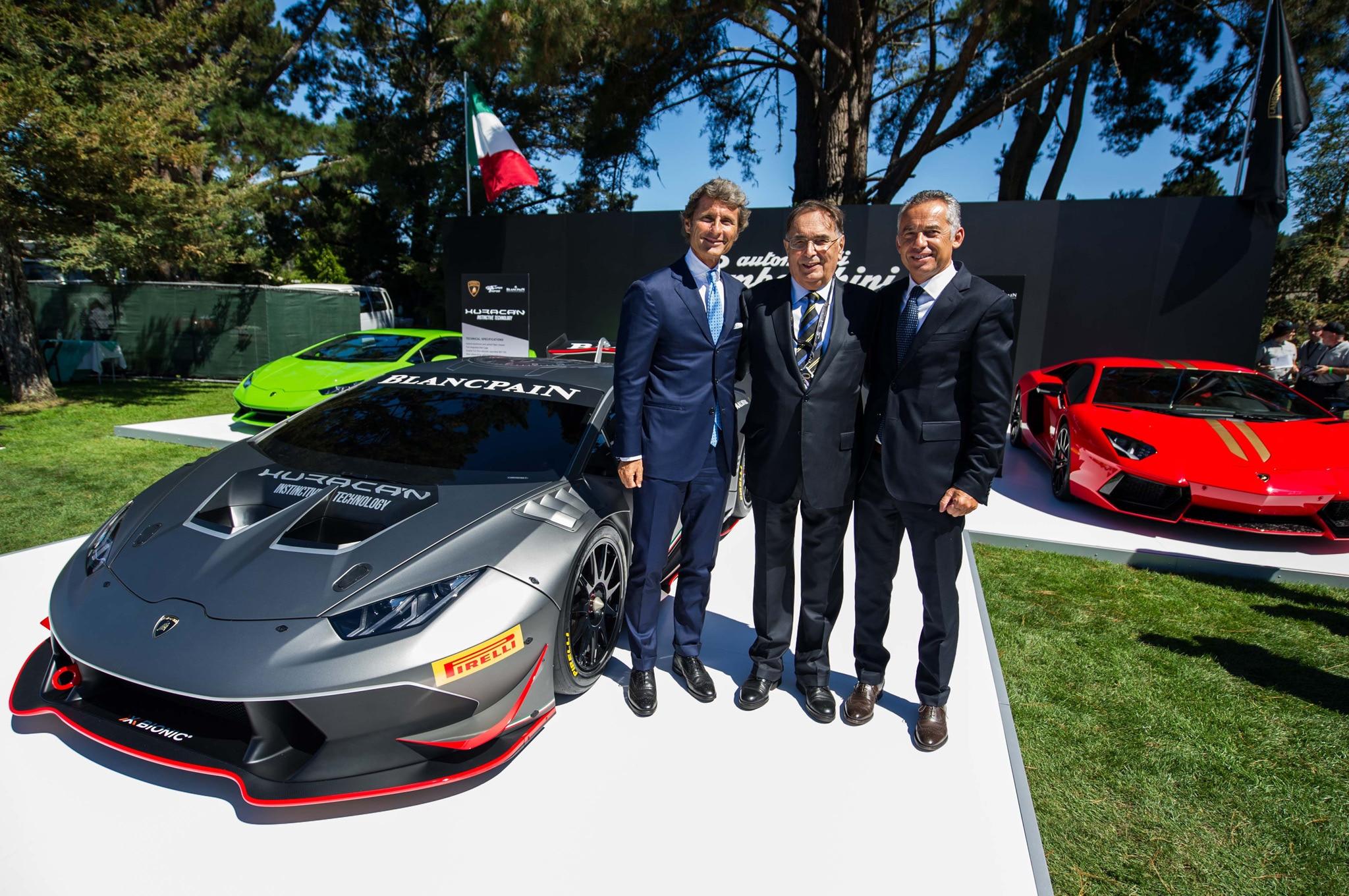 Lamborghini Huracan LP 620 2 Super Trofeo With Stephan Winkelmann Giampaolo Dallara Maurizio Reggiani