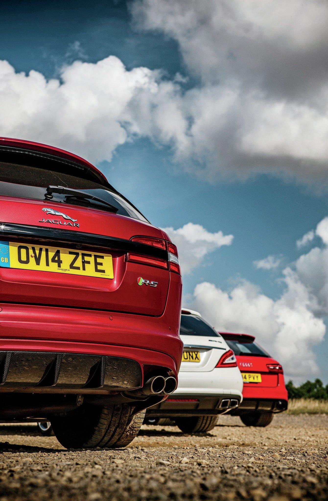 Hot Euro Wagons Jaguar XFRS vs Mercedes CLS63 AMG vs Audi RS6
