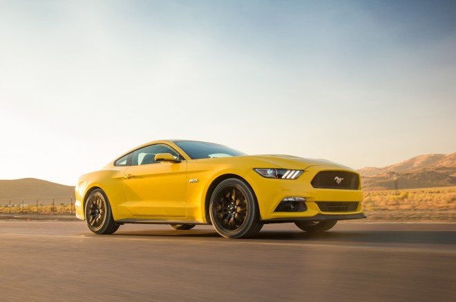 2015 Ford Mustang GT Front Three Quarters In Motion 660x438