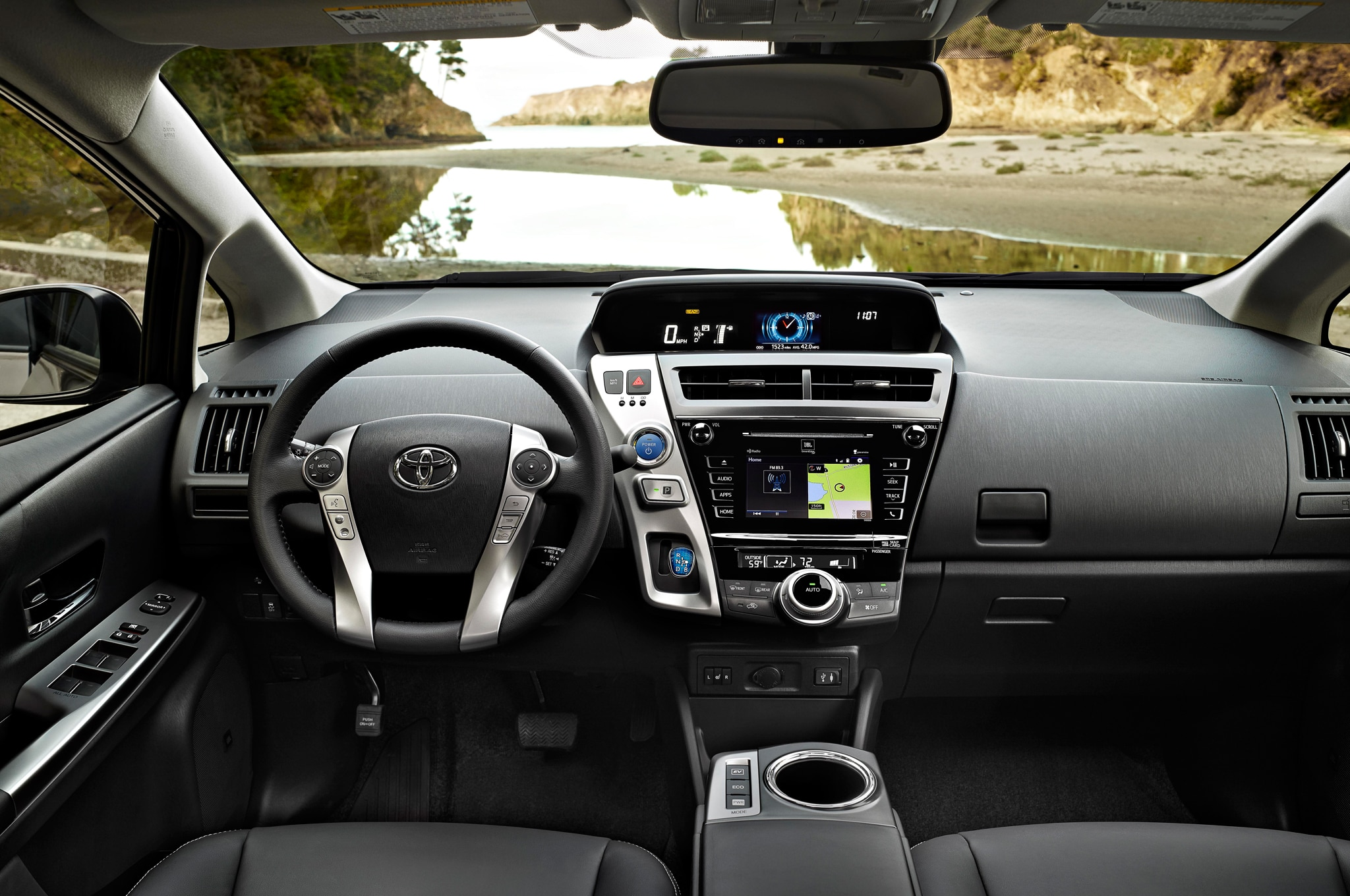 On the inside the 2015 toyota prius v