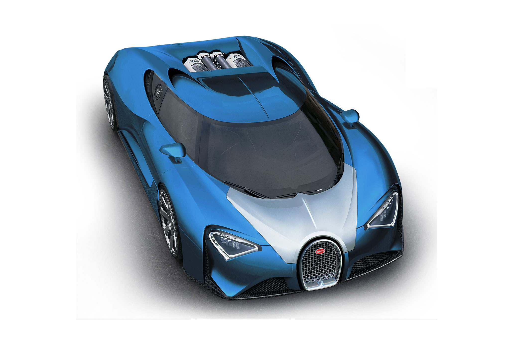 Bugatti Chiron Illustration Front Three Quarter