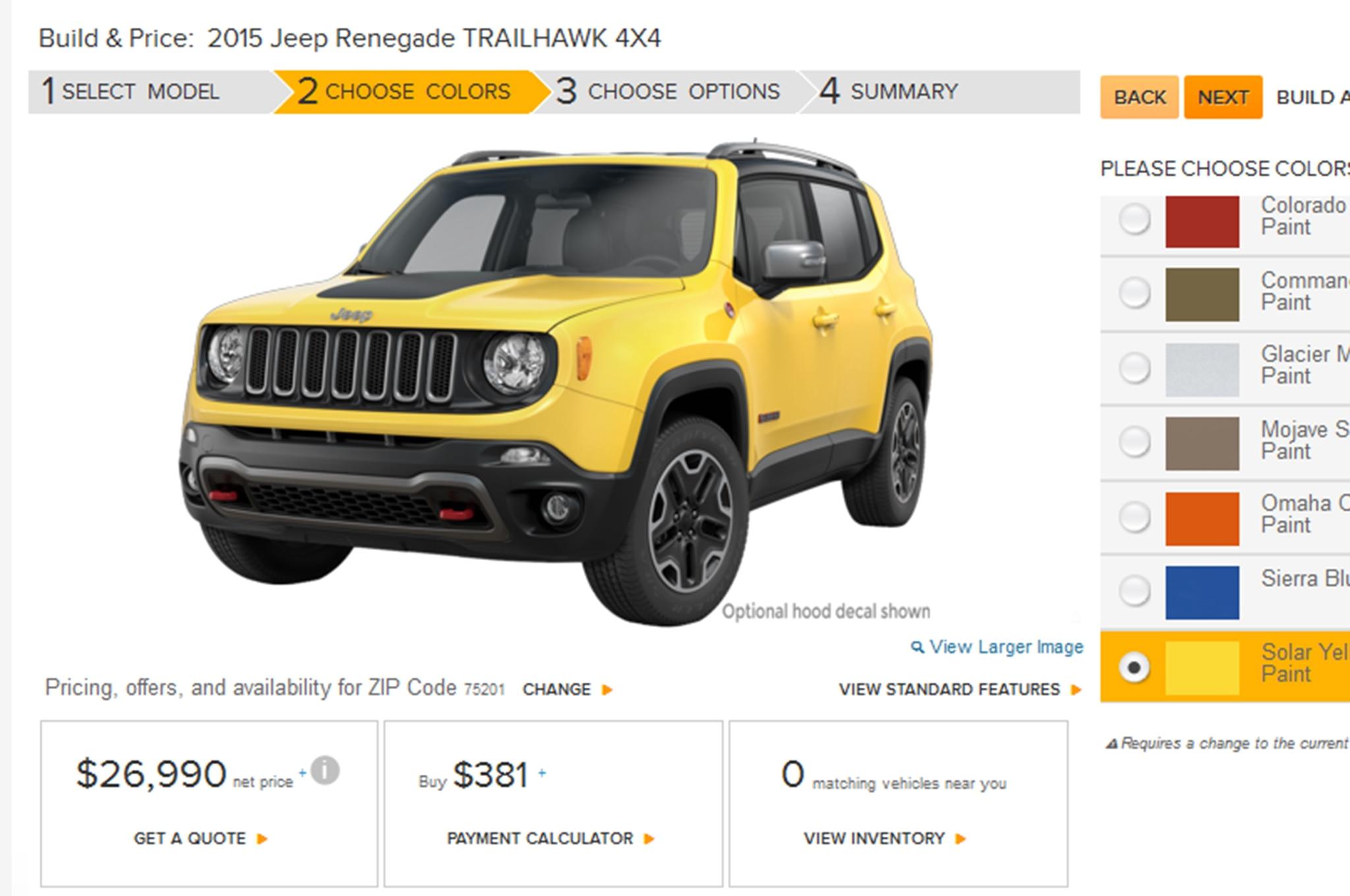 2015 Jeep Renegade Configurator Goes Live