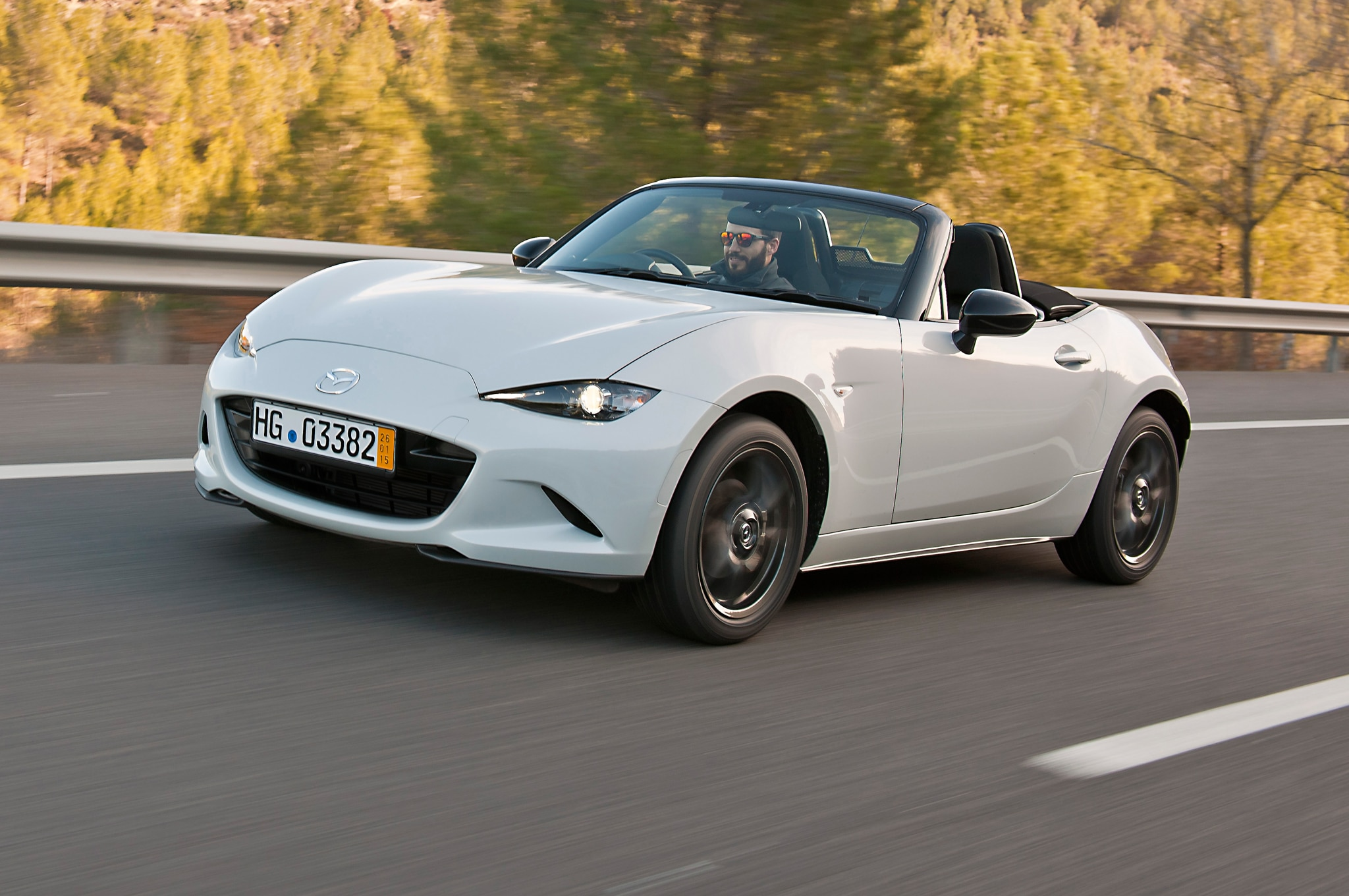 2016 Mazda MX 5 Miata Right Hand Drive Front Side View Lights On In White
