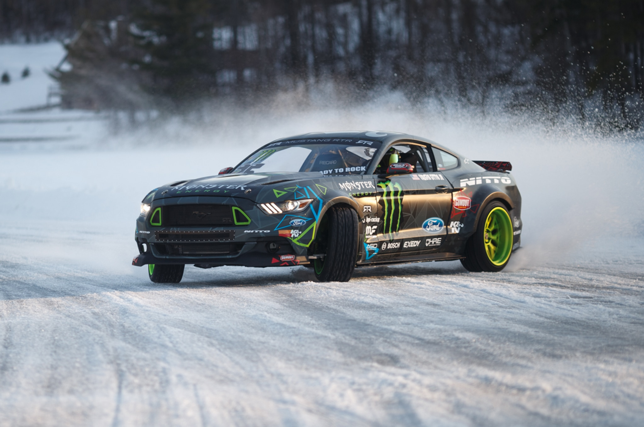 Watch Vaughn Gittin Jr Drift His Ford Mustang Rtr On Ice