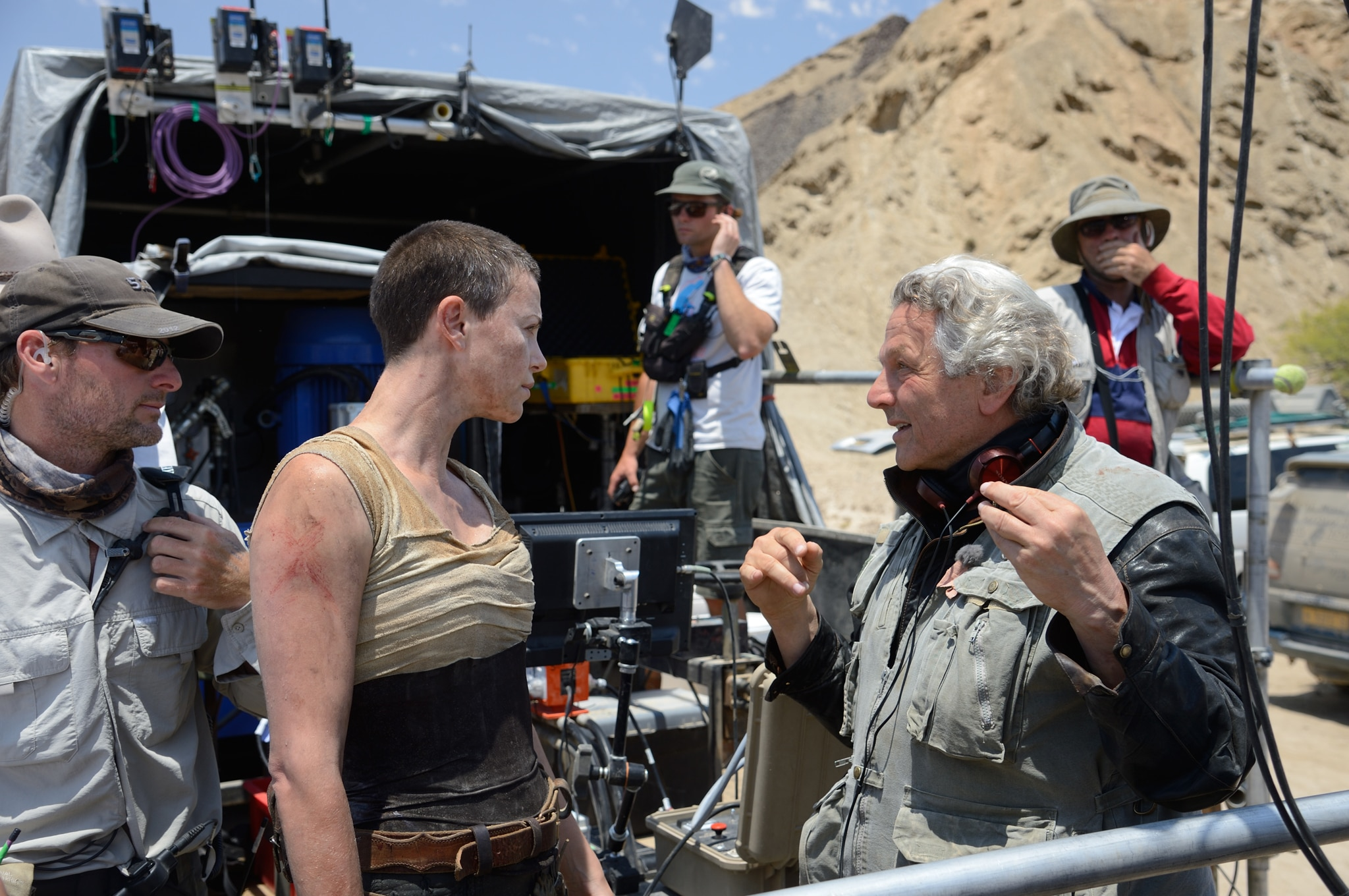 Charlize Theron and director George Miller. Photo courtesy Warner Brothers