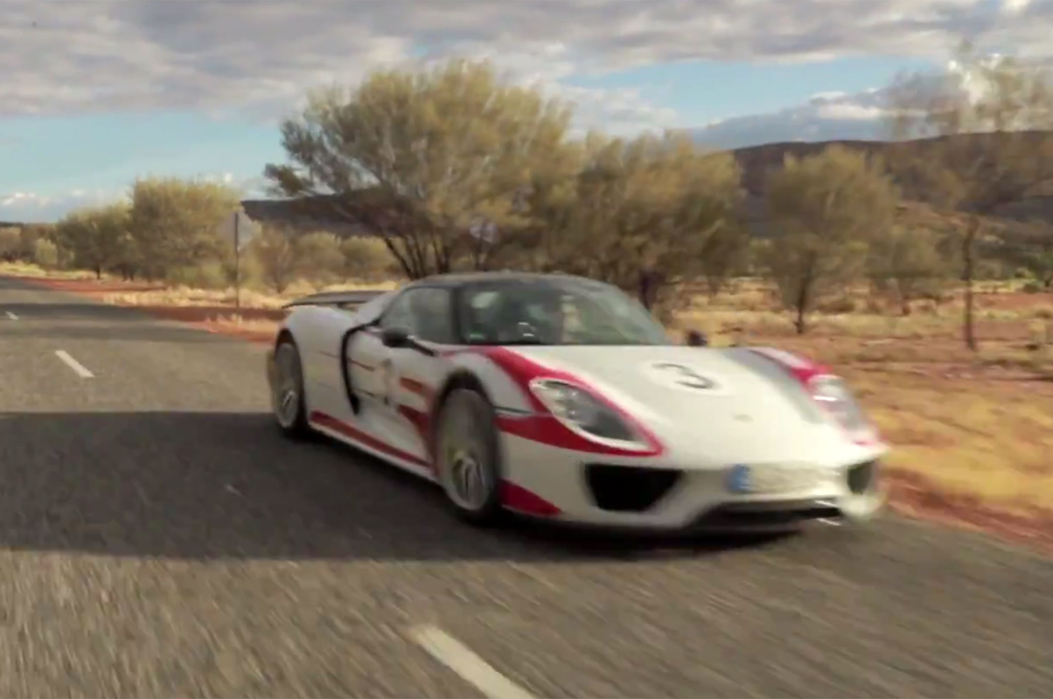 watch a porsche 918 spyder hit 217 mph in the outback. Black Bedroom Furniture Sets. Home Design Ideas