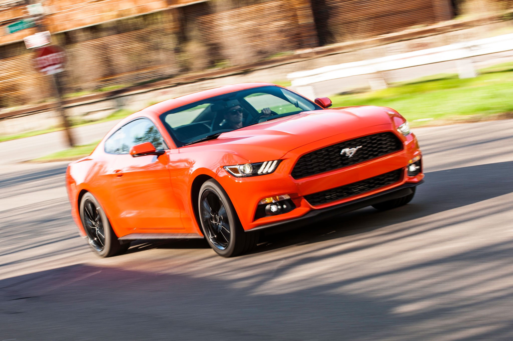 2015 Ford Mustang EcoBoost Premium Front Three Quarter In Motion 02