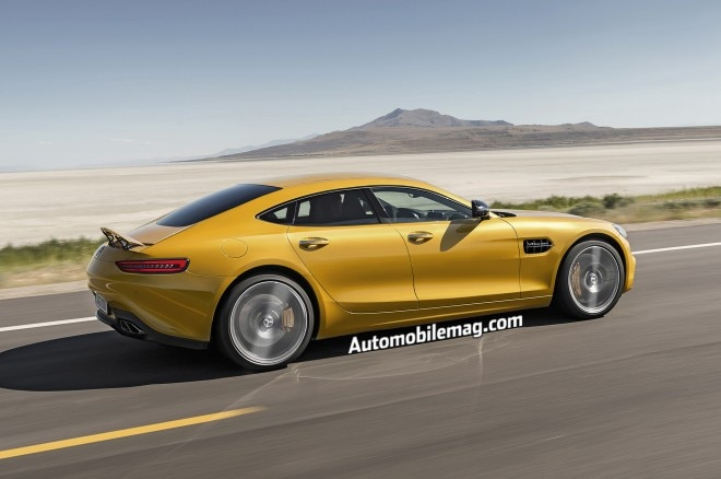 Mercedes AMG GT4 rendering rear three quarter
