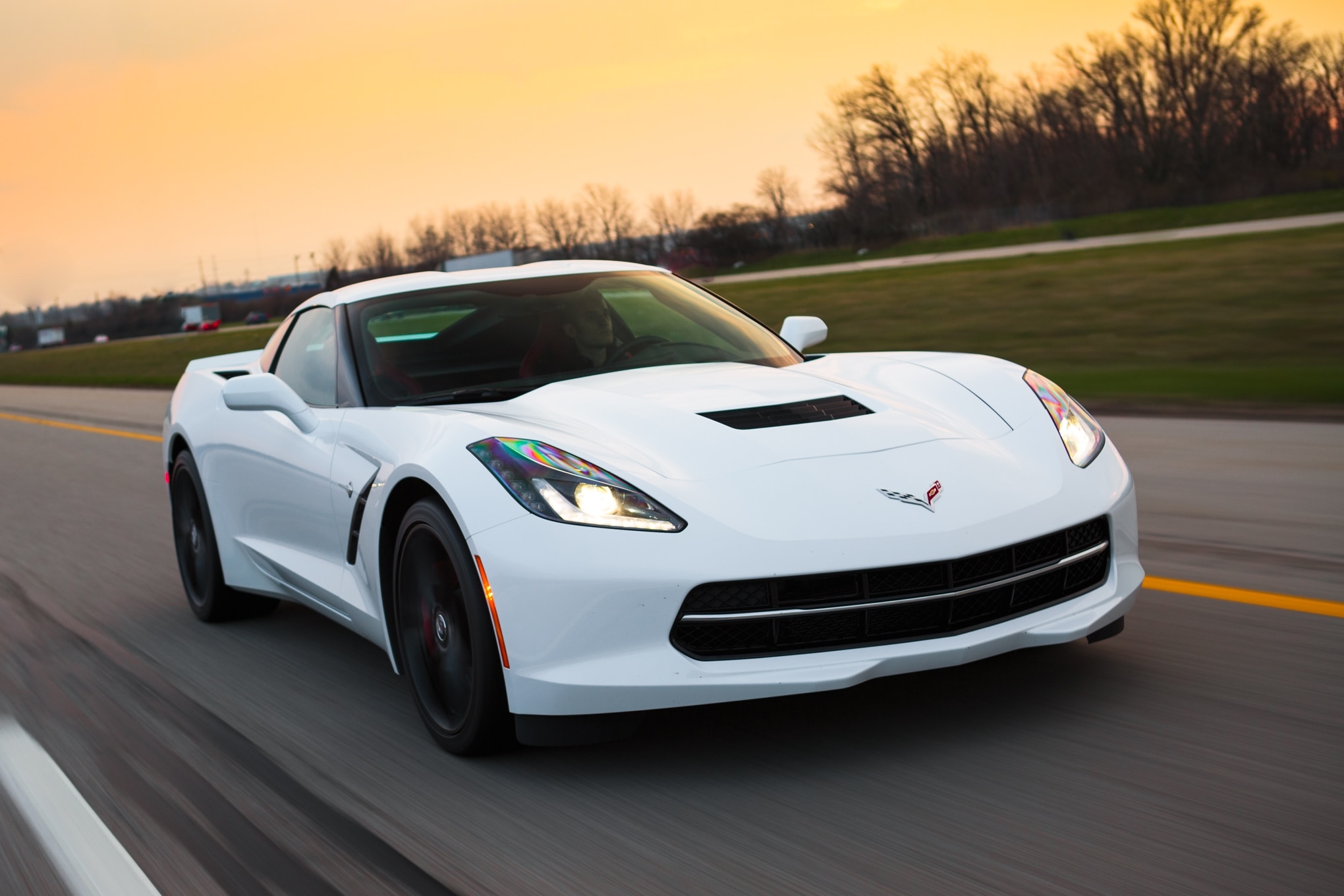 2014 Chevrolet Corvette Stingray Z51 Coupe Front Three Quarter In Motion 04