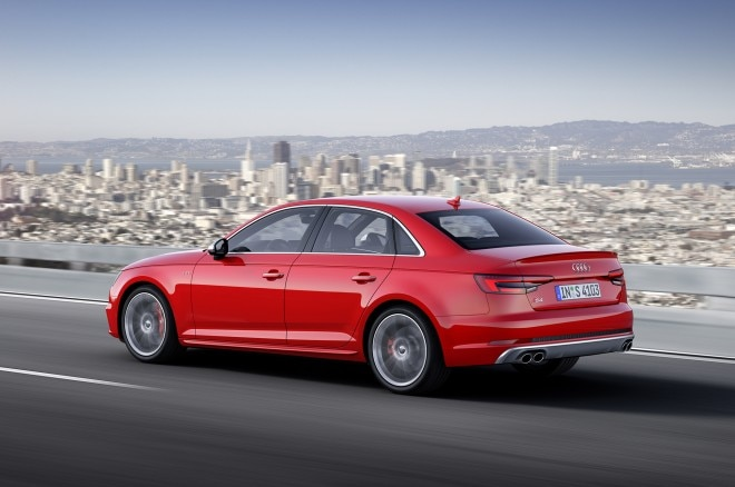 2017 audi s4 rear three quarters in motion