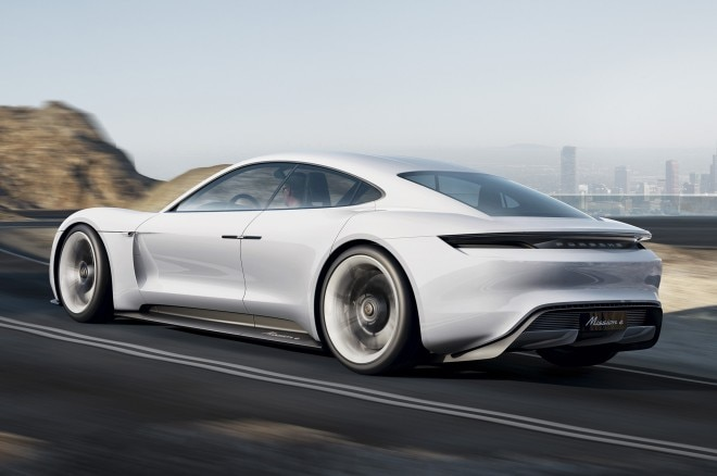 Porsche Mission E Concept Rear Three Quarters In Motion 660x438