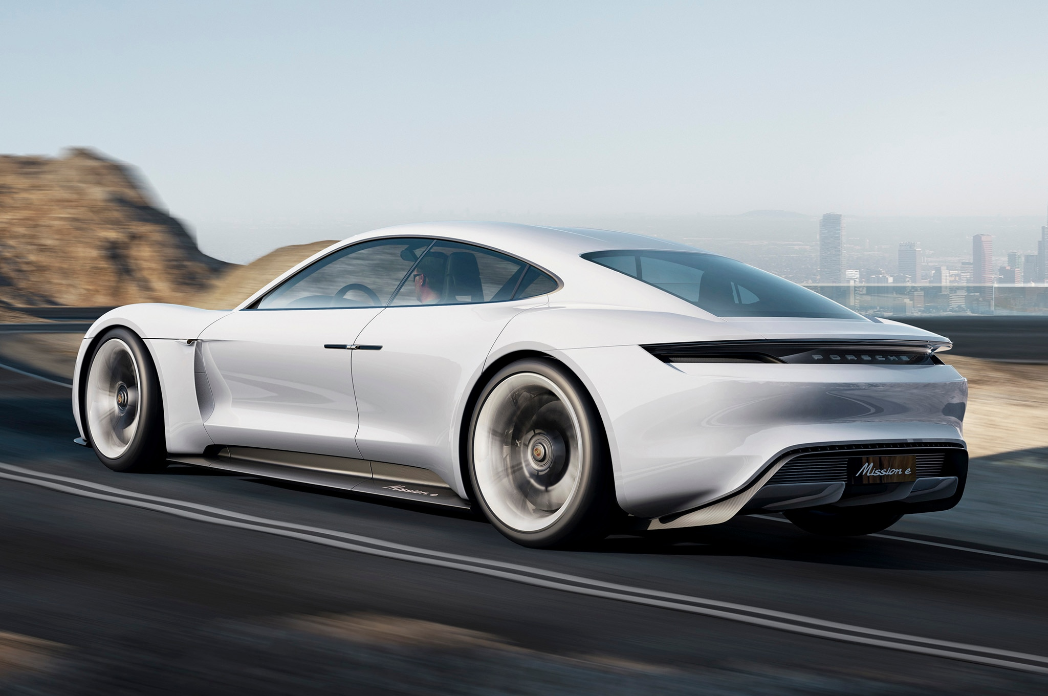 Porsche Mission E Concept Rear Three Quarters In Motion1