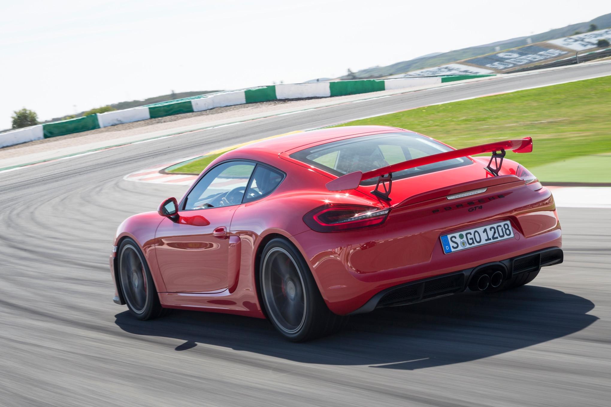 2016 Porsche Cayman GT4 Rear Three Quarter In Motion 08