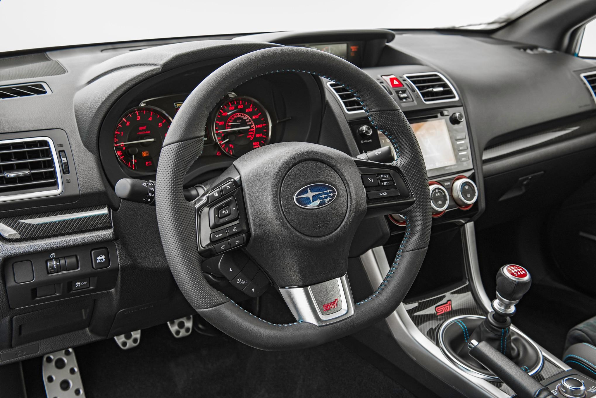2016 Subaru WRX STI Series HyperBlue steering wheel. 3|17