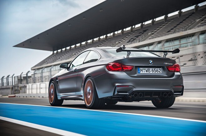 2016 BMW M4 GTS rear three quarter in motion 05