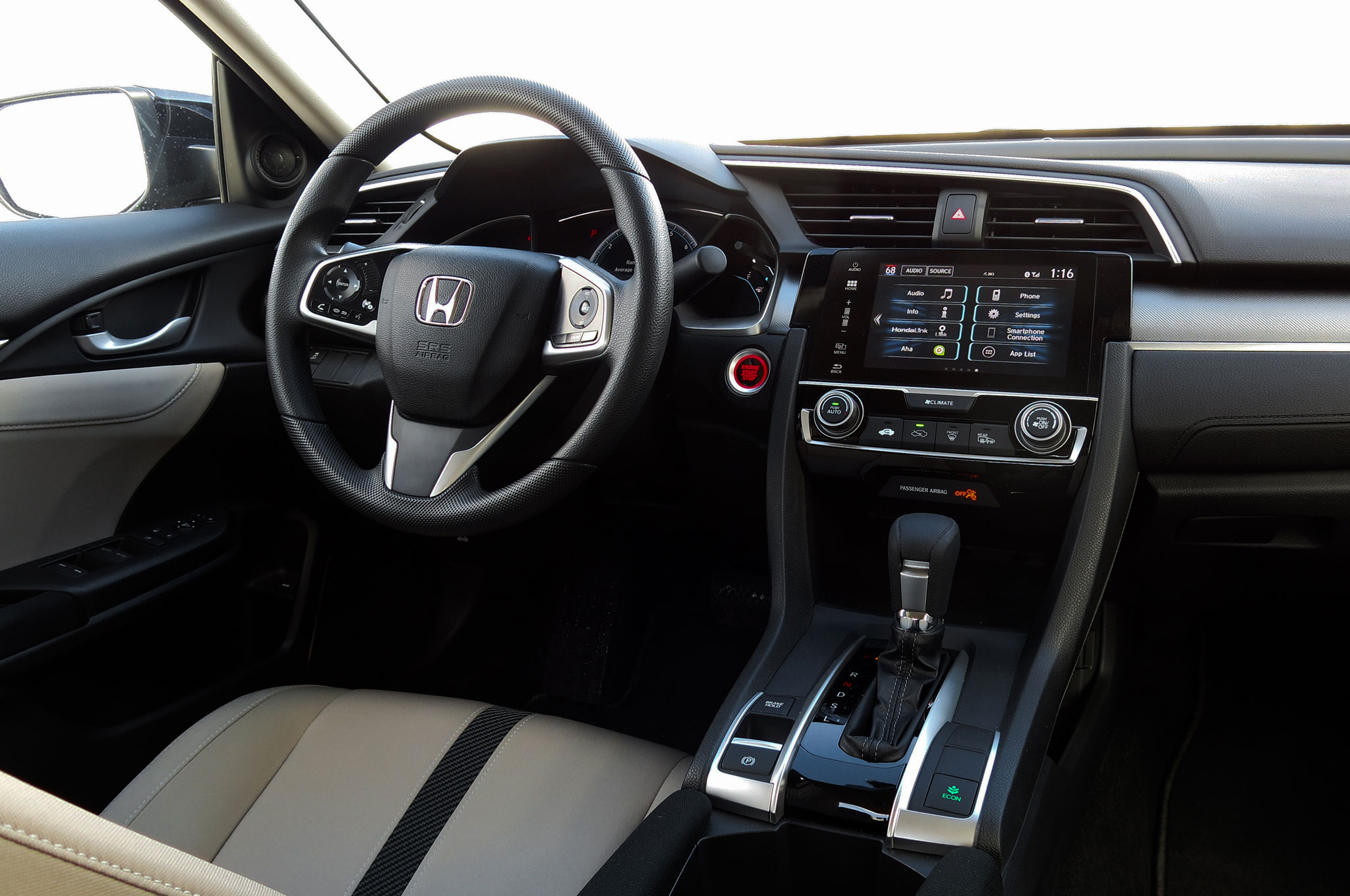 2016 honda civic ex sedan review automobile magazine - 2016 honda civic si coupe interior ...