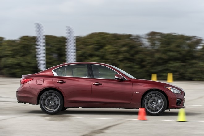 2016 Infiniti Q50 Red Sport 400 side in motion autocross