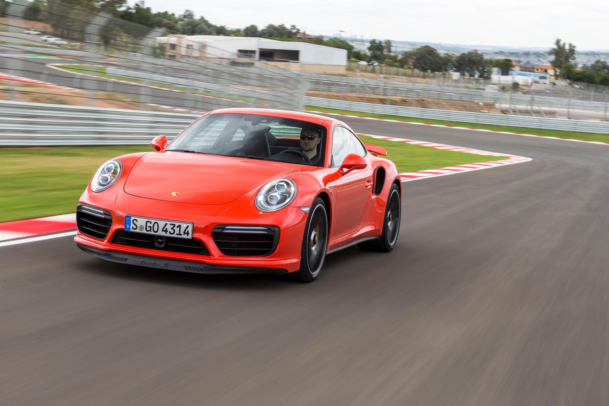 2017 Porsche 911 Turbo S Front Three Quarter In Motion 03