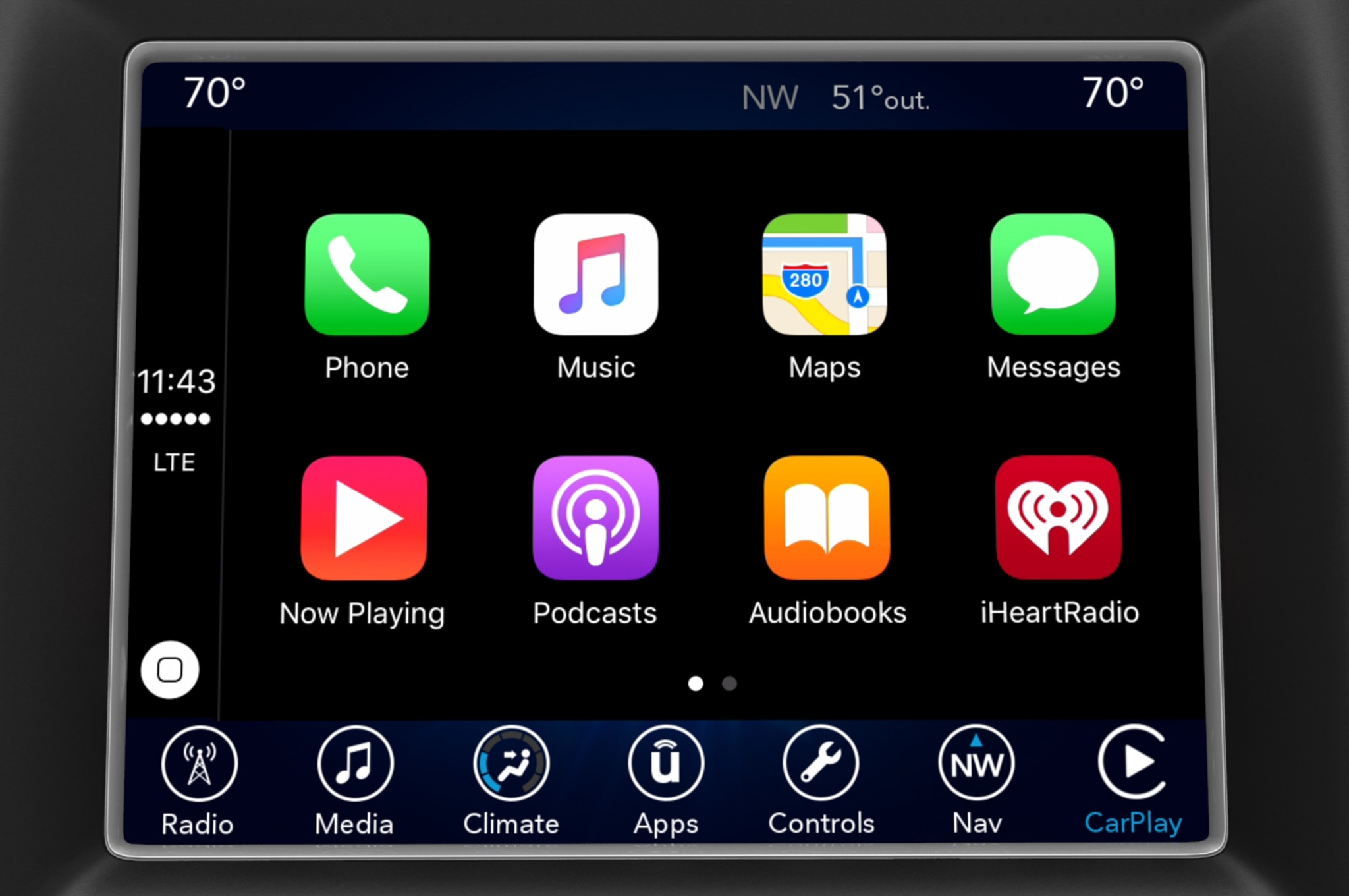 Fiat Chrysler Uconnect Apple carplay